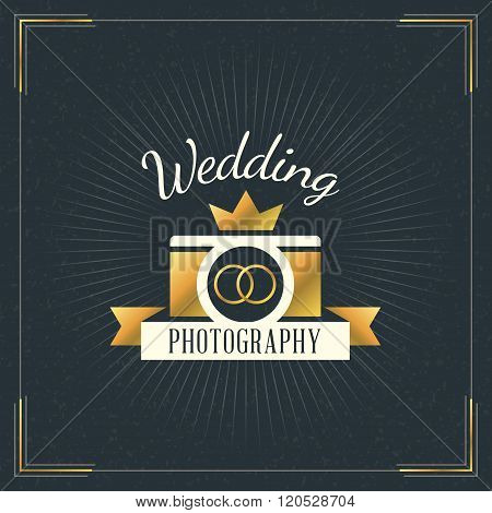 Photography Logo Design Template. Photography Retro Golden Badge. Wedding Photography. Photo Studio.