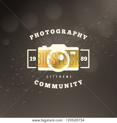 Photography Logo Design Template. Photography Retro Golden Badge. Camera Shop. Photography Community