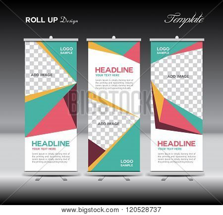 Green And Pink Roll Up Banner Template Vector Illustration Polygon Background