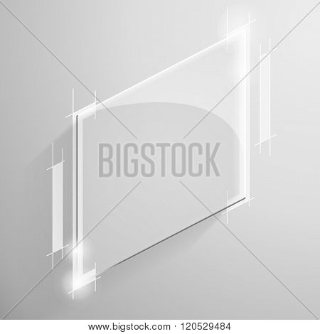 Vector glossy white square with tech line