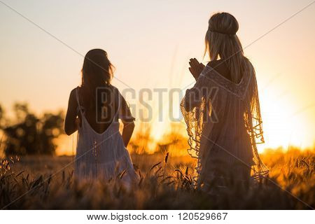 Sexy Young Girls Playing And Watching Sunset In The Fields.