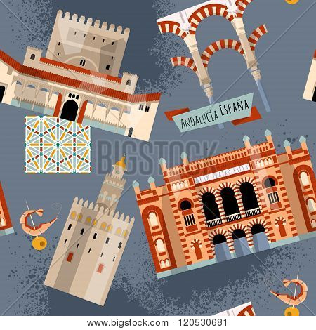 Sights Of Andalusia. Seville, Granada, Cordoba, Cadiz, Spain, Europe. Seamless Background Pattern.