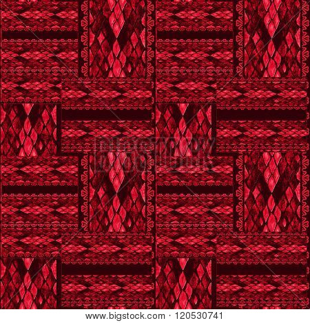 Patchwork Red Seamless Snake Skin Pattern Texture