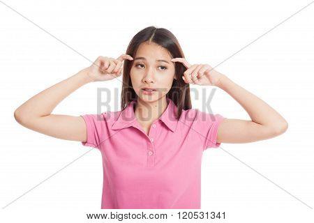 Beautiful Asian Girl Got Headache