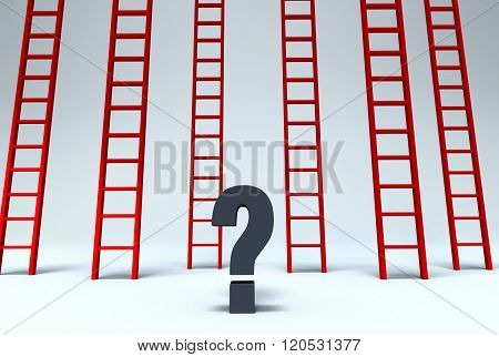 Several red ladders reaching up past the frame are scattered behind a dark gray question mark.