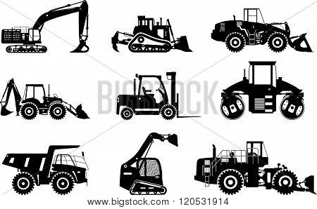 Set of silhouettes heavy construction and mining machines isolated on white background. Vector illus