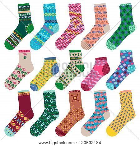 Set Of 15 Various Multi-colored Socks.