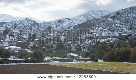 Winter landscape at the countryside of Cyprus with snow at Troodos Mountain range