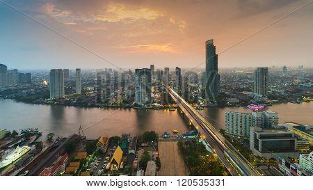 Aerial view over Bangkok main river bridge