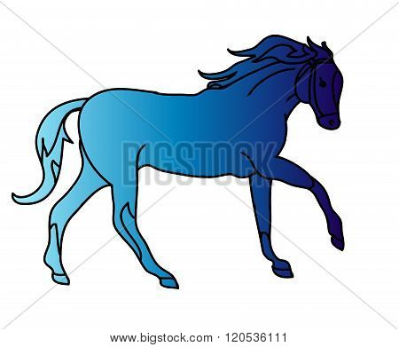 The Silhouette Of A Horse Gallop (blue Gradient)