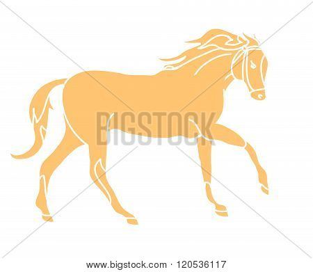 The Silhouette Of A Horse Gallop (beige)