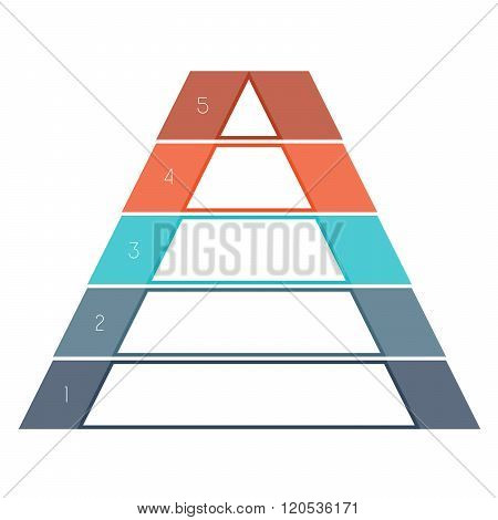 Numbered Template Infographics Colorful Pyramid Text Area 5 Positions