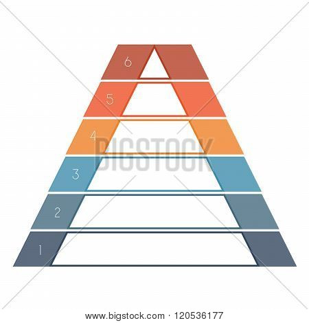 Numbered Template Infographics Colorful Pyramid, Text Area 6 Positions