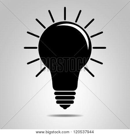 Black light bulb - vector illustration.