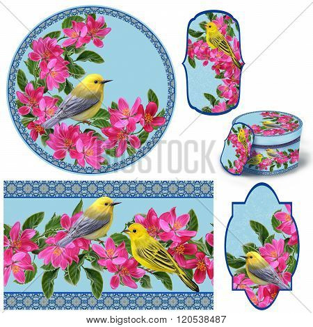 Set For Packaging. Box Round. Label. Decoupage. Floral Background. Flower Border. Pattern. Mosaic. L