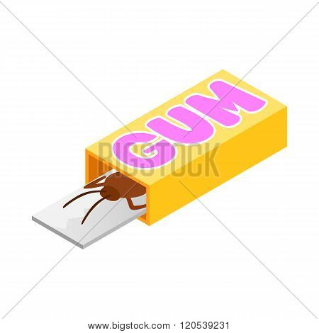 Cockroach in a box of gum icon, isometric 3d style