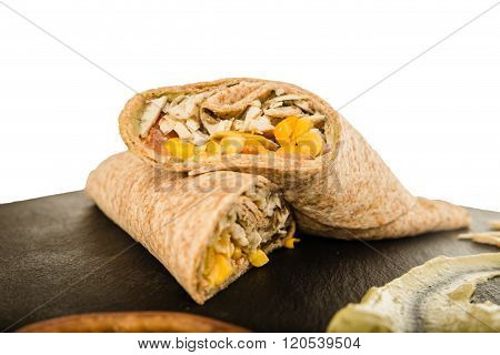 Mexican Burrito With Chicken Or Beef Meat And Vegetables