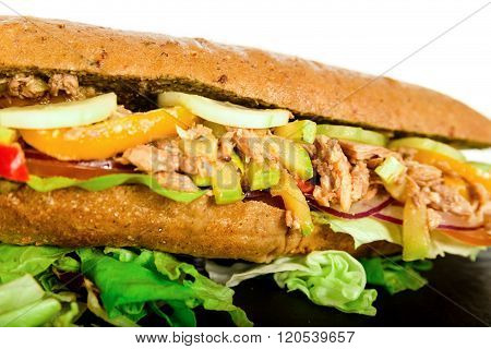 Fresh Healthy Tuna Sandwich Baguette With Vegetables.