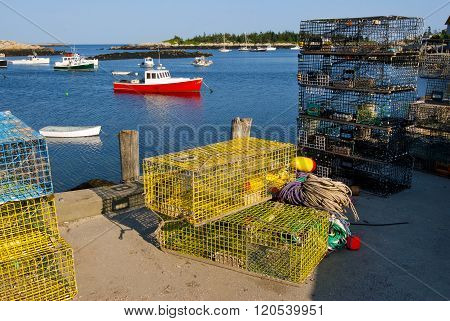 Lobster Boats And Traps In Maine Island Harbor