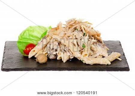 Penne Macaroni Pasta With Chicken And Mushroom And Parmesan Cheese