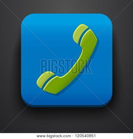 Green call symbol icon on blue
