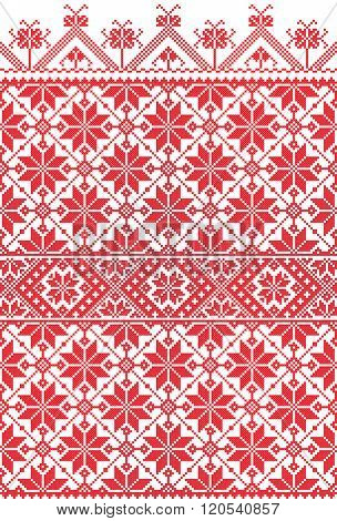 red embroidered good like old handmade cross-stitch ethnic Ukraine pattern. Ukrainian towel with ornament, rushnyk called, in vector