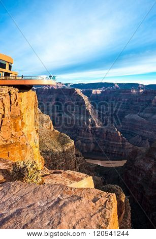 Grand Canyon, USA - Decenber 28, 2010: People on the cantilevered lookout in the West Rim of the Grand Canyon