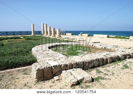 Ruins Of The Palace Of Herod The Great In Caesarea