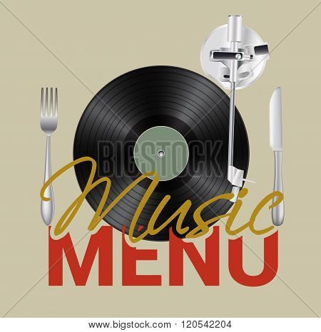 Music menu with vinyl knife fork background concept. Vector