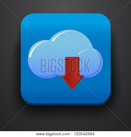 Download symbol icon on blue