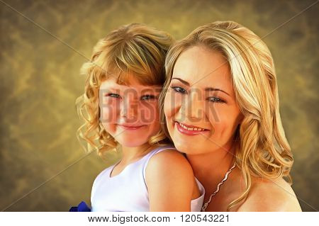 Lovely Mom And Daughter Painting