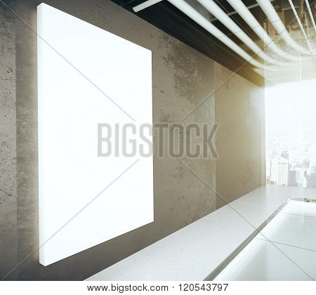 Blank Glowing Poster On The Wall In Modern Empty Room, 3D Render, Mock Up