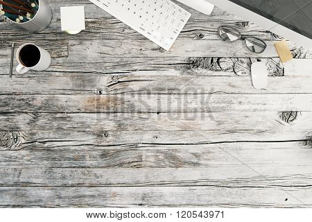 Topview Of Wooden Desktop
