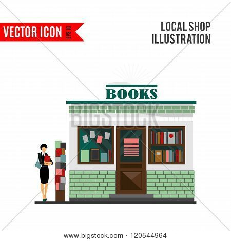 Vector bookstore mall. Books shop building