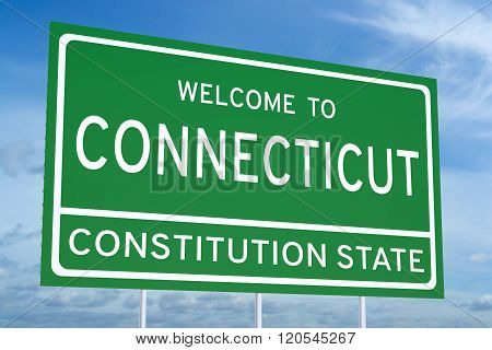 Welcome to Connecticut state concept on road sign