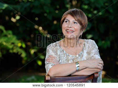 Headshot Of Old Happy Lady
