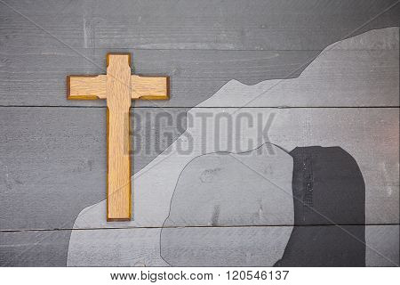 Wooden Easter Cross On Black Wooden Background