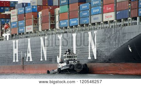 Tugboat Z-four Assisting Hanjin United Kingdom To Maneuver Out Of The Port Of Oakland.