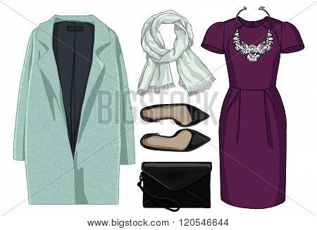 Lady fashion set of autumn, winter season outfit. Illustration stylish and trendy clothing.