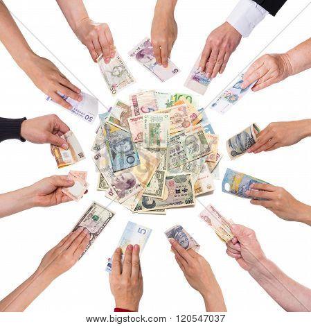 Lot Of Hands Giving Money