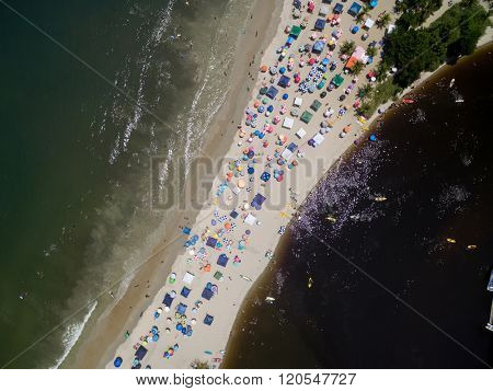 Top View of Crowd Beach in a paradise island
