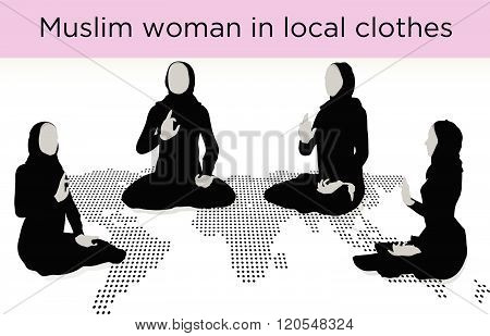 Muslim Woman Silhouette In Awakened Pose