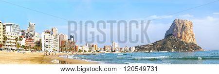Calpe, Alicante, Arenal Bol Beach With Penon De Ifach Mountain. Spain.
