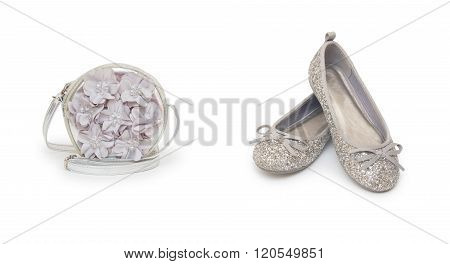 Set of shoe and bag isolated on white