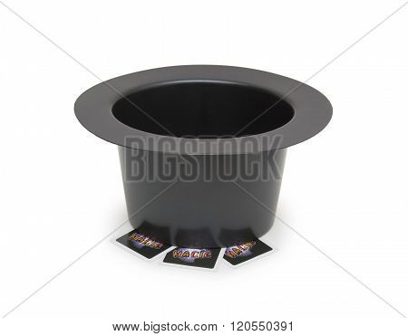 Black Magic Hat And Magic Cards Isolated On A White Background