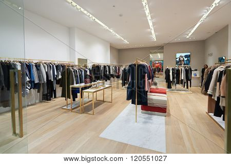 SINGAPORE - NOVEMBER 08, 2015: interior of Maje store in The Shoppes at Marina Bay Sands. The Shoppes at Marina Bay Sands is one of Singapore's largest luxury shopping malls