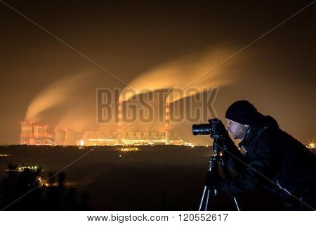 Photographing Power Plant At Night.