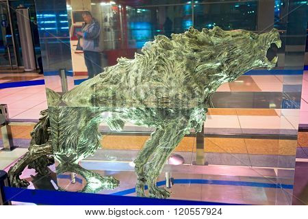 Novosibirsk, March 02, 2016: Wolf Figure In Sculpture Conquest Of Siberia, The Authors Yunus Safardi