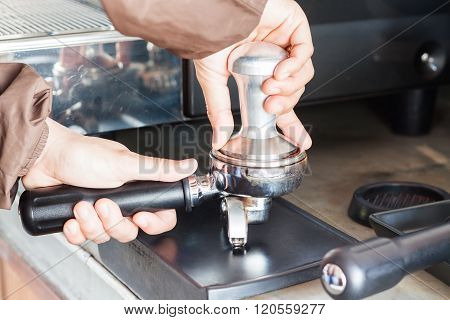 Barista With Tamper For Making Espresso