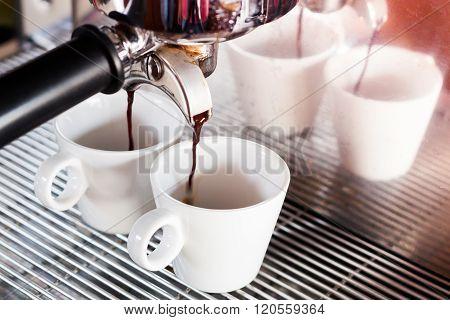 Prepares Espresso In  Coffee Shop With Vintage Filter Style